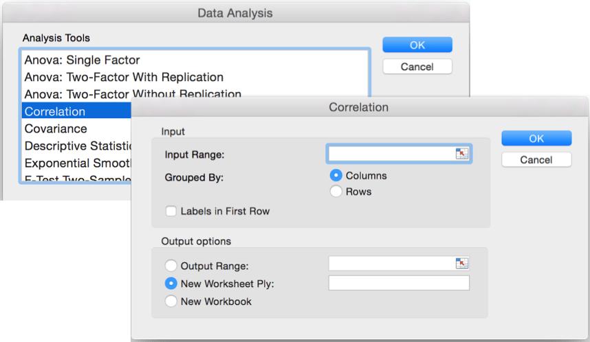 Пакет анализа в Excel для Mac