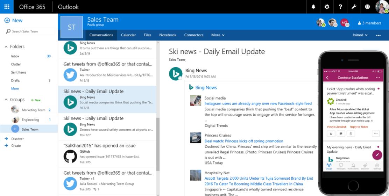 Office 365 Connectors работает в web версии Outlook