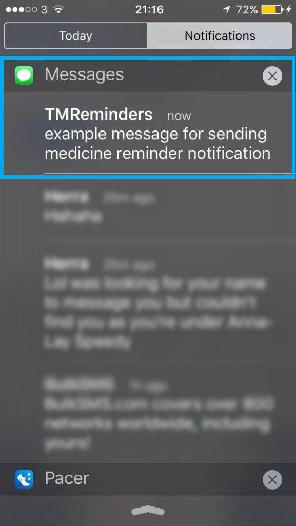 Notification centre message