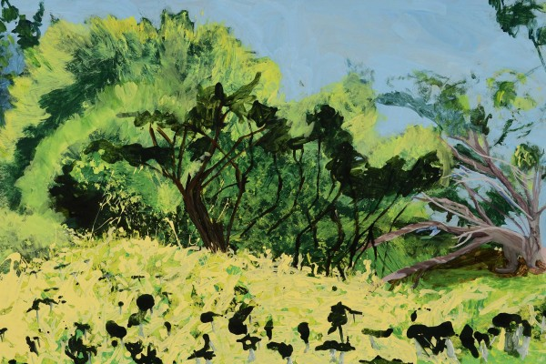 2010, acrylic on paper mounted on board, 36 x 59 inches