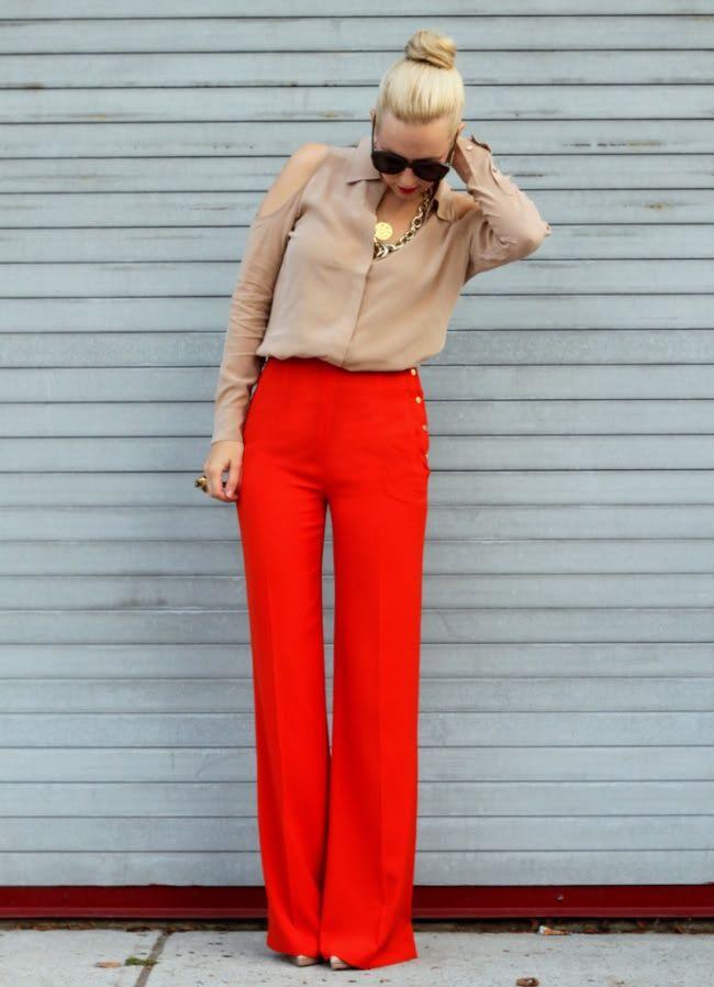 Картинки по запросу красные брюки с чем носить