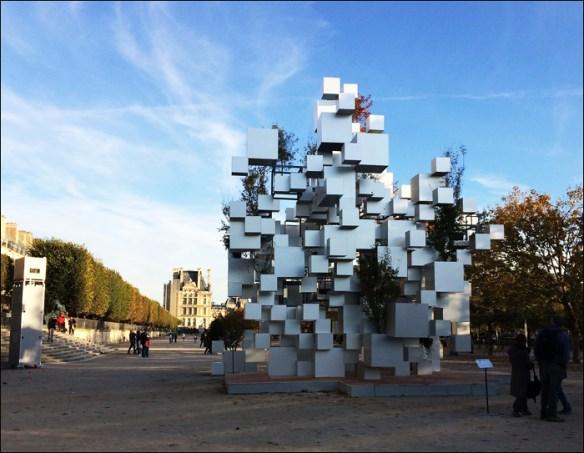"""Many Small Cubes"" by Sou Fukimoto, Louvre view; pic; Cynthia Rose"