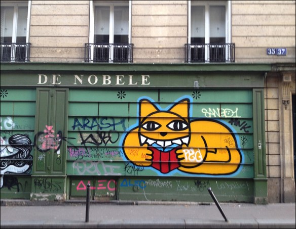 Street art by Monsieur Chat, rue Bonaparte; pic: Cynthia Rose