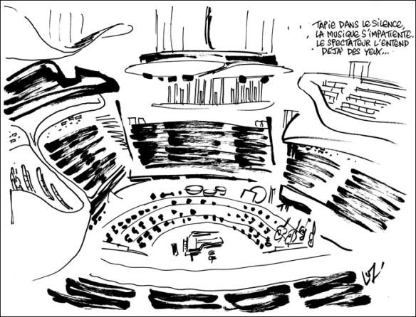Sketch of the Philharmonie, Luz for Charlie Hebdo 1187 © Luz/Charlie Hebdo, all rights reserved