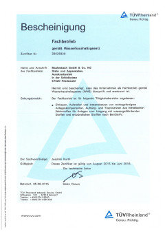 Certification as per German Federal Water Act (Wasserhaushaltsgesetz, WHG)