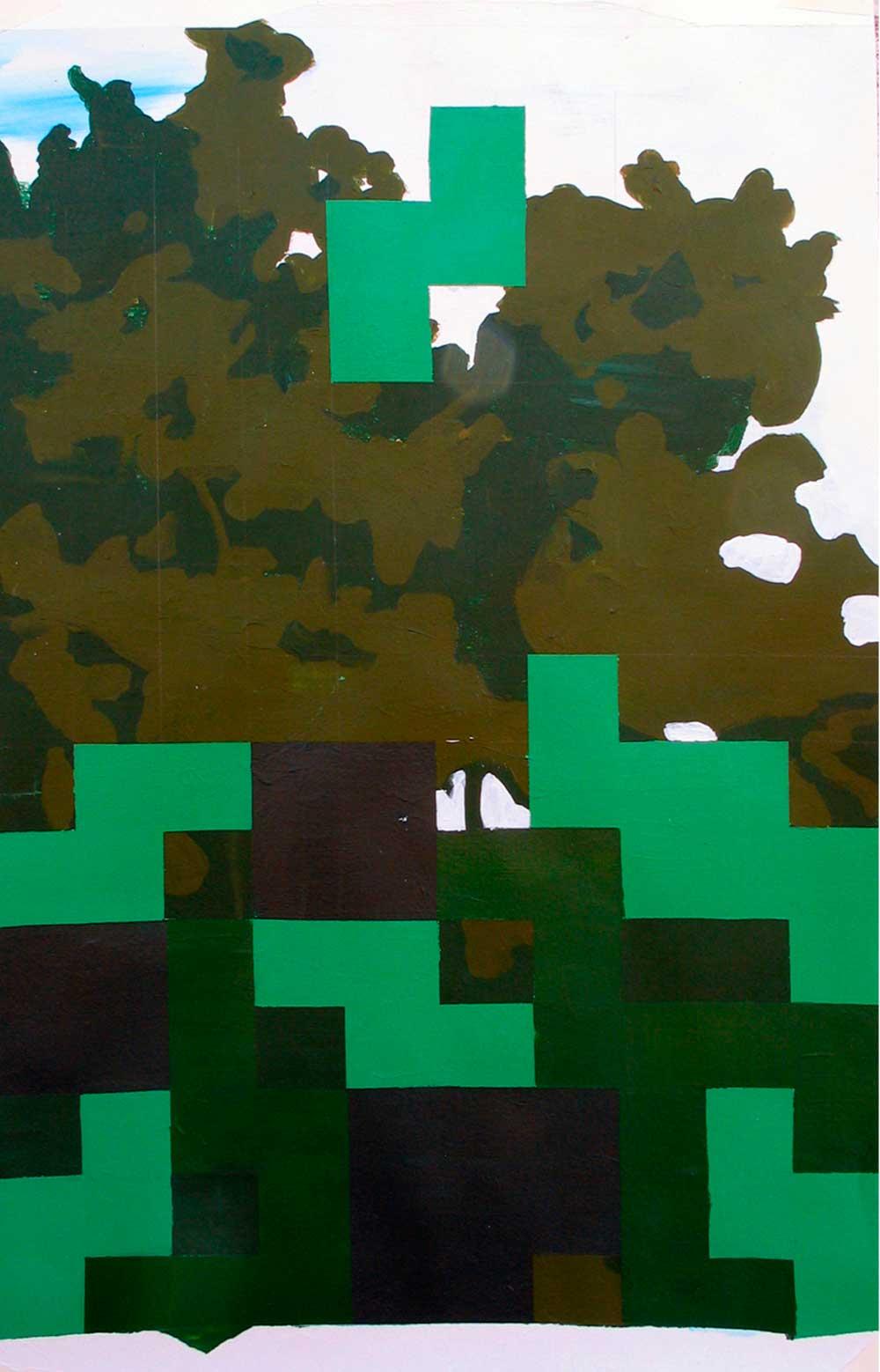 © Ana Barriga | El juego I, 2011. Acrílico sobre papel, 70 x 50 cm.