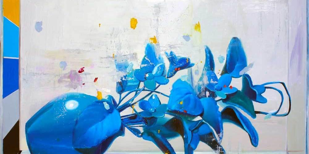 © Ana Barriga | Hablemos de mañana, 2015, Óleo y esmalte sobre tela, 195 x 116cm
