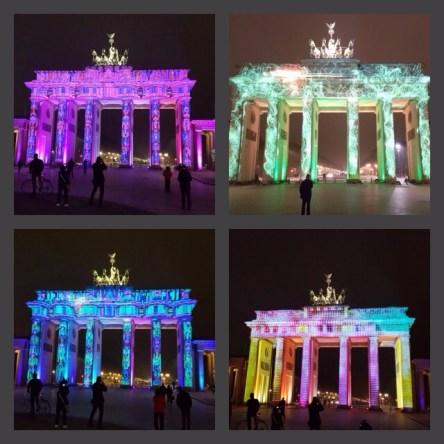 Visual Mapping - Das Brandenburger Tor bei verschiedenen Lichtinszenierungen beim Festival of Lights 2016.