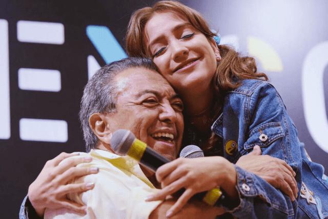 Mauricio de Souza e Carol Amaral, que será Denise na versão live-action da Turma da Mônica Jovem