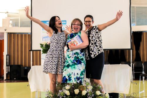 Rita Roseback with her two daughters