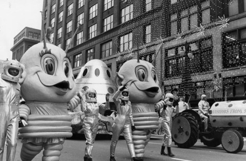 Space aliens march in the Detroit Thanksgiving parade Nov. 30, 1967.