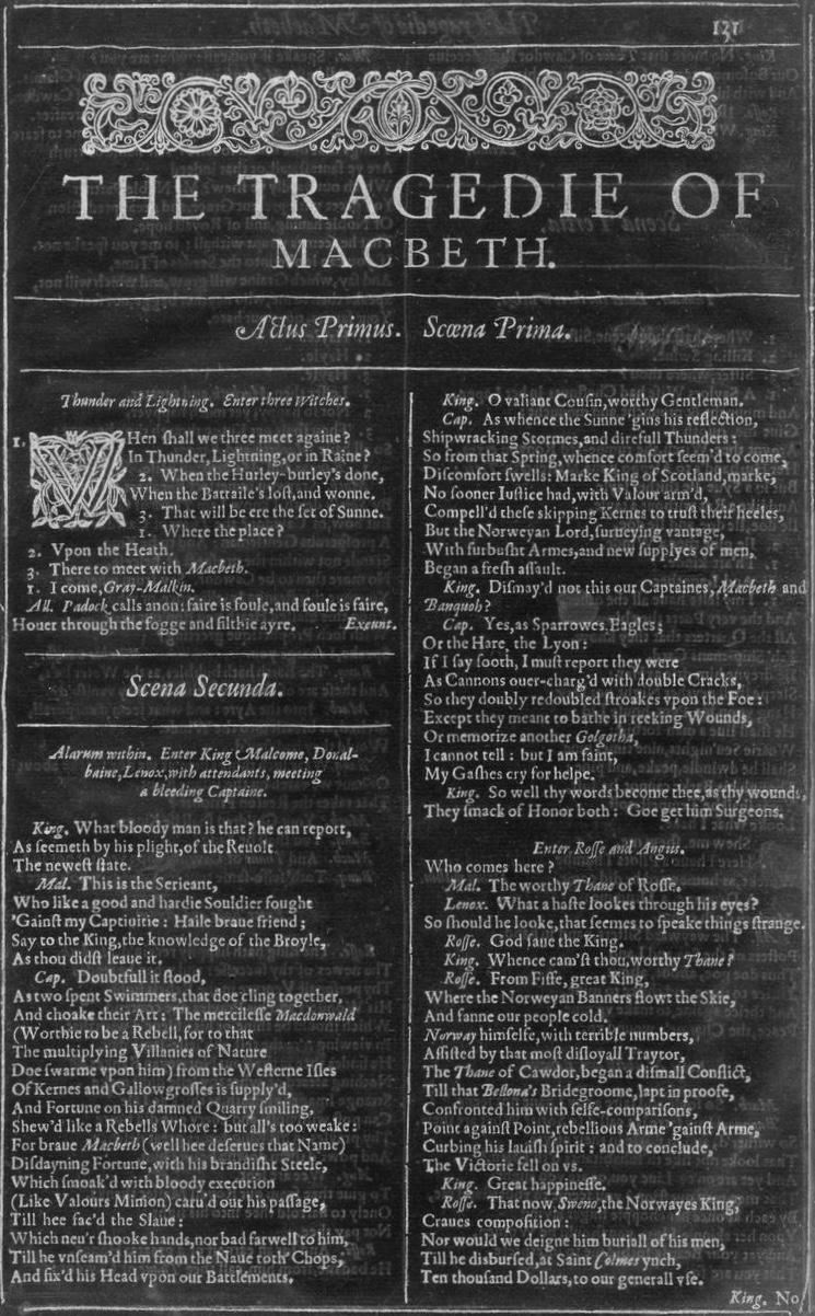 Macbeth First Folio
