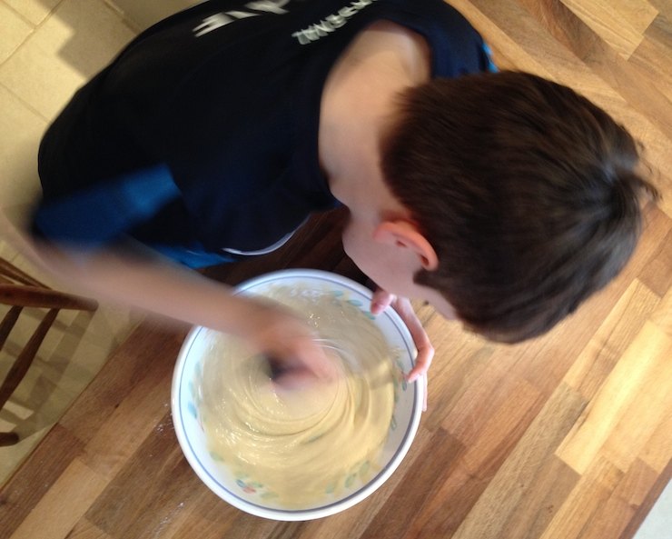 Mixing the pancake batter. Copyright GrettaSchifano