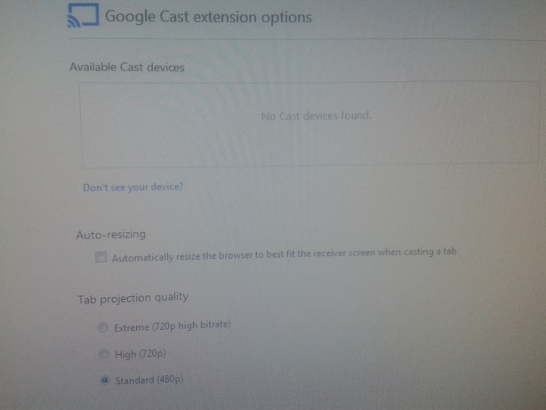 Google Chromecast Extension Options