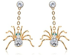 Petite Golden Creepy Swarovski Elements Crystal Rhinestone Spider Drop Earrings