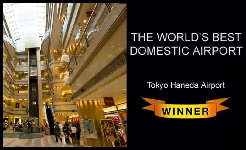 Haneda é eleito o melhor aeroporto para voos domésticos em 2014 (Imagem: Skytrax/Edição MN)