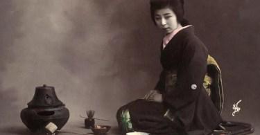 Cerimonia do Chá na antiga casa de chá Ippodo, em Kyoto - foto data da Era Meiji (Foto: Fornecida por Aflo Images)