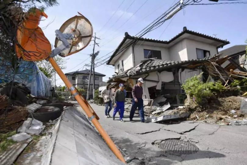A cidade de Mashiki foi a mais afetadas pelos terremotos na província de Kumamoto (Foto: Kyodo)