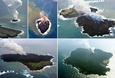 Ilha vulcânica Nishinoshima (Foto: Distribuição/Montagem MN)