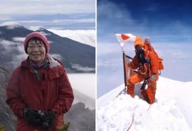 Junko Tabe no pico dos montes Apo (2005) e Everest (1975)  / Foto: Kyodo