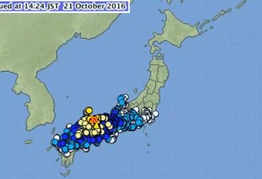 O mapa mostra o epicentro do tremor e áreas afetadas (Foto: Reprodução/JMA)