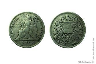 Moneda de Guatemala en 1895, un Peso - foto por Beto Bolanos