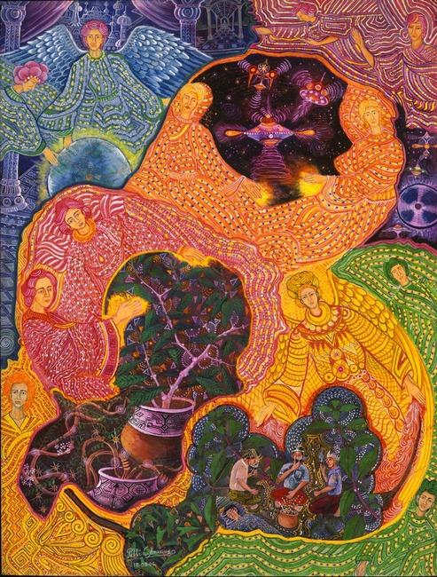 """Angeles Avatares por Pablo Amaringo. Aparece no livro """"The Ayahuasca Visions of Pablo Amaringo"""" (""""As visões de Ayahuasca de Pablo Amaringo"""") por Howard G. Charing."""