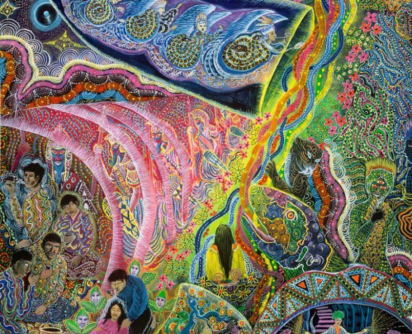"""La Principa de la Vida by Pablo Amaringo. Aparece no livro """"The Ayahuasca Visions of Pablo Amaringo"""" (""""As visões de Ayahuasca de Pablo Amaringo"""") por Howard G. Charing."""
