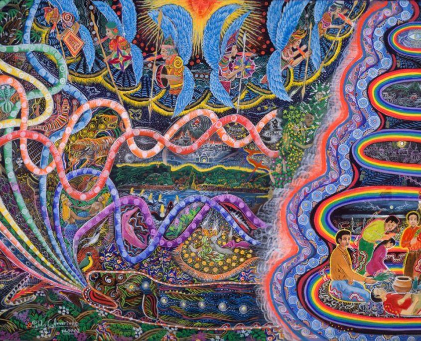 """Ondas de la Ayahuasca by Pablo Amaringo. Aparece no livro """"The Ayahuasca Visions of Pablo Amaringo"""" (""""As visões de Ayahuasca de Pablo Amaringo"""") por Howard G. Charing."""