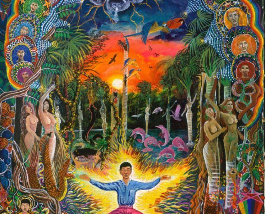 """Jehua Supai – Pablo Amaringo. Aparece no livro """"The Ayahuasca Visions of Pablo Amaringo"""" (""""As visões de Ayahuasca de Pablo Amaringo"""") por Howard G. Charing."""