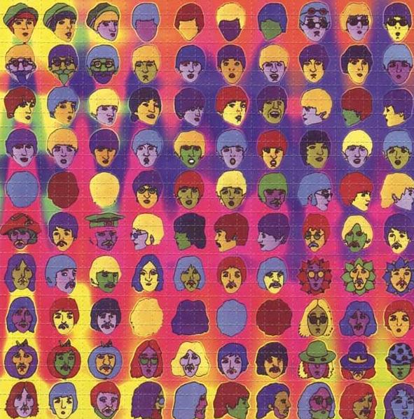 Cartela de LSD contendo fotografia dos integrantes da banda Beatles.