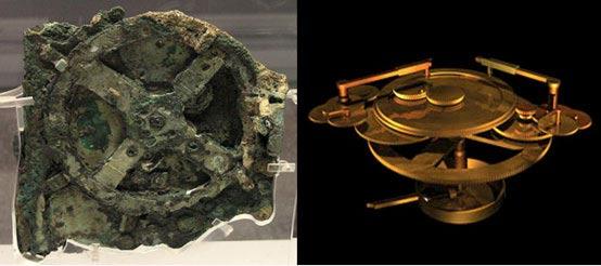 El mecanismo original de Anticitera y una reconstrucción
