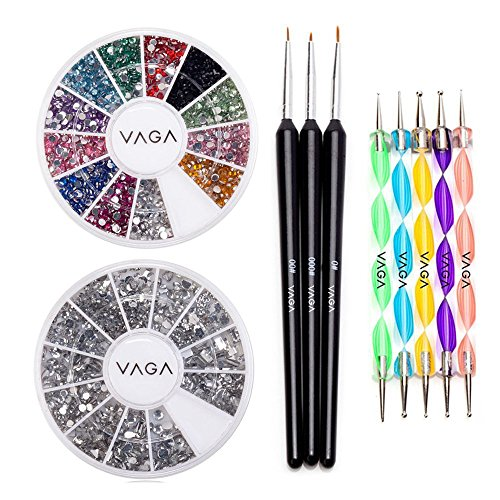 High Quality Professional Nail Art Set Kit With Pack Of Silver Gems