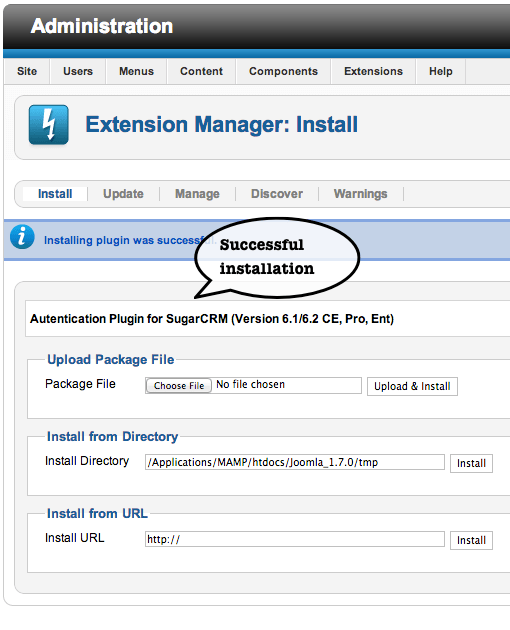 Figure 2 - Installation Successful of the Plugin