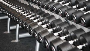 A rack of dumbbells is useful for many free-weight exercises.
