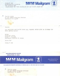 A telegram from Pere Ubu's Peter Laughner asking travis to perform at an event in 1976, courtesy of Moniker Records.