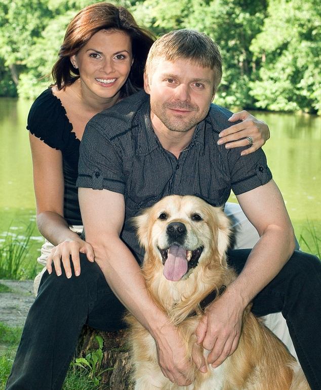 Gloria Fricová s manželem Zbyňkem Fricem a jejich mazlíčkem Baronem