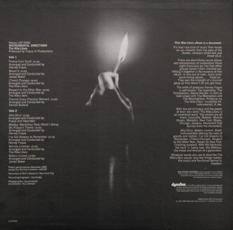The Nite-Liters - Instrumental Directions RCA Back Cover Art