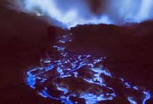 Crater That Leaks Neon Blue 'Lava'?