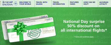 Saudi Airlines 50% off flights National Day – Umrah options