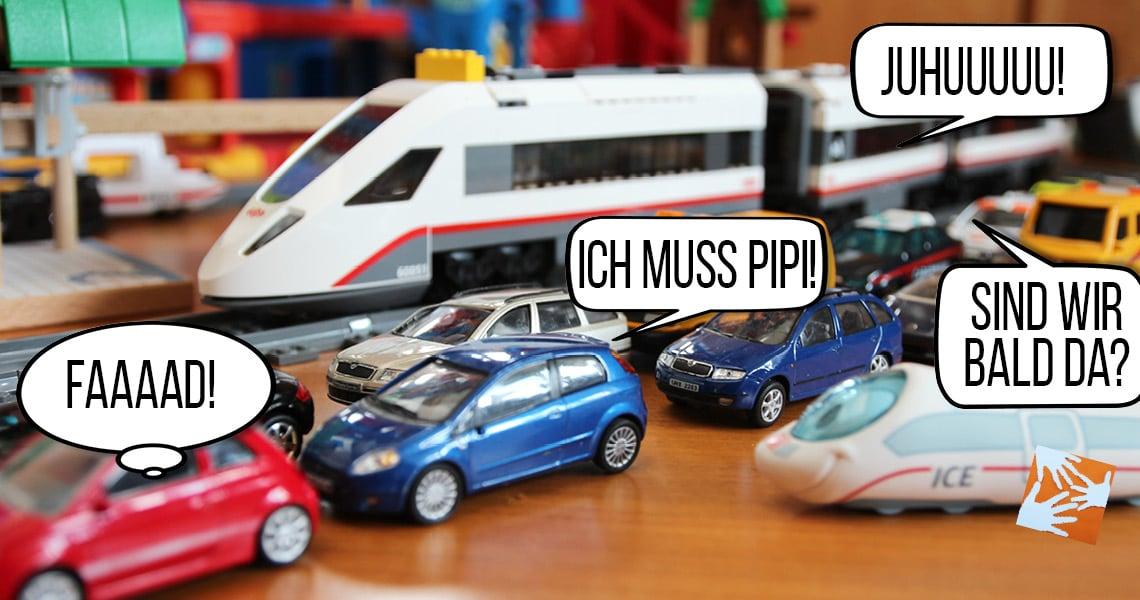 Juhuuu! statt Faaaad! Bahn fahren, Nerven sparen Familie fährt Zug