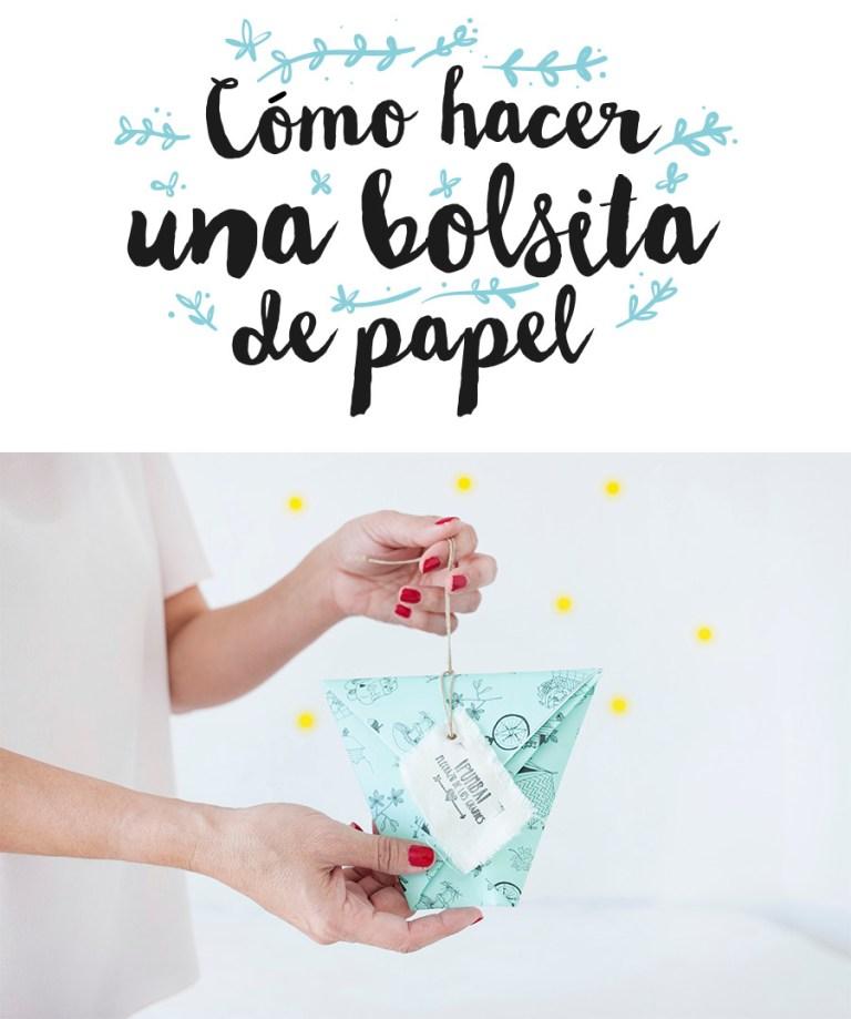 DIY- Aprende a hacer una bolsita para un regalo con un trocito de papel