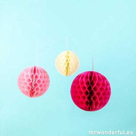 Mr.Wonderful set de 3 globos de papel Blossom