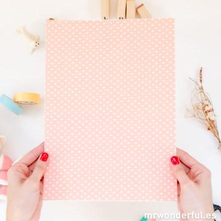 Mr.Wonderful textil adhesivo con estampado de topos rosa