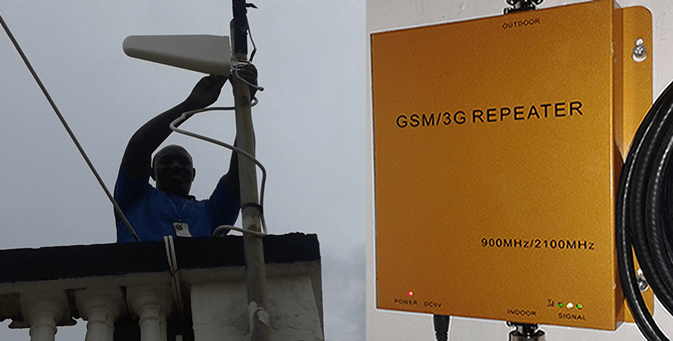 Amos, WFP telecommunications specialist, installs the GSM booster in Galkayo, Somalia.