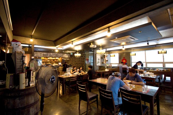 The interior tips you off to the fact that you're in Hongdae