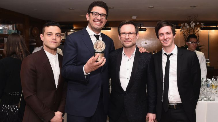 NEW YORK, NY - MAY 21: (L-R) Rami Malek, Sam Esmail, Christian Slater, and Kyle Bradstreet attend The 75th Annual Peabody Awards Ceremony at Cipriani Wall Street on May 21, 2016 in New York City.  (Photo by Ilya S. Savenok/Getty Images for Peabody)