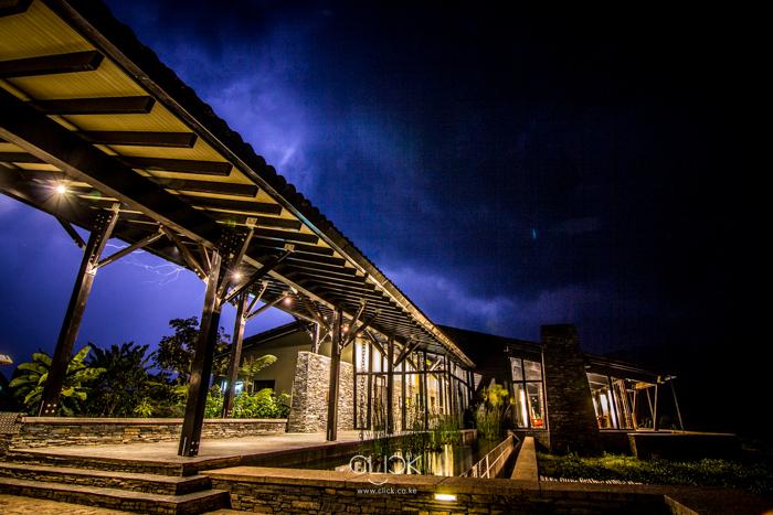 Lightning lights up the skies over Nyungwe Forest Lodge, Rwanda.