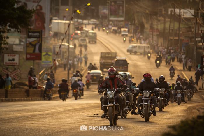 Evening traffic in Kampala.