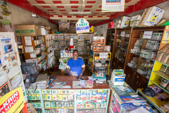 Beatrice Akinyi in one of her agro outlets in Kisumu, Kenya on 23rd July 2016. Beatrice started Magos Agrovet in a small room on the outskirts of Kisumu in 2007. With business training and a grant from Agricultural Market Development Trust (AGMARK), Magos has today grown to have three fully stocked agricultural supply outlets, as well as a truck that makes deliveries to farmers and agro dealers in the region. Agra is one of AGMARK's funding partners.